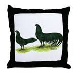 Black Sumatra Chickens Throw Pillow