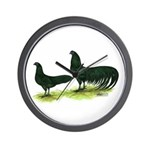 Black Sumatra Chickens Wall Clock
