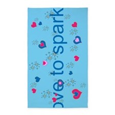 Cute Blue LOVE TO SPARKLE! 3'x5' Area Rug