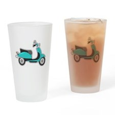 Cute Retro Scooter Blue Drinking Glass