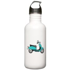 Cute Retro Scooter Blue Water Bottle