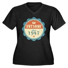 Awesome Since 1947 Women's Dark Plus Size V-Neck T