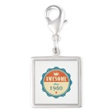 Awesome Since 1980 Silver Square Charm