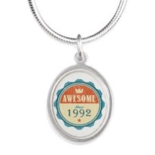 Awesome Since 1992 Silver Oval Necklace