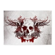 Dark Red Skull 5'x7'Area Rug