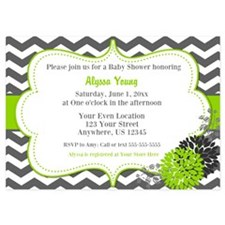 Gray Green Chevron Shower Invite Invitations