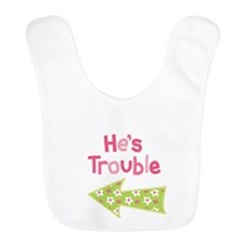 Hes Trouble Flower Arrow Bib