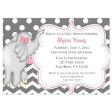 Gray Pink Elephant Baby Shower Invite Invitations