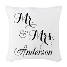 Mr. & Mrs. Personalized Monogr Woven Throw Pillow