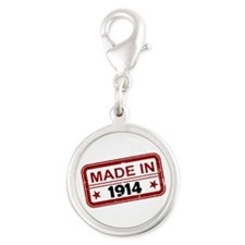 Stamped Made In 1914 Silver Round Charm