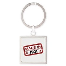 Stamped Made In 1921 Square Keychain