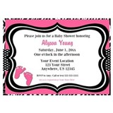 Pink zebra baby feet shower Invitations & Announcements