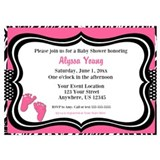 Pink zebra baby feet shower invite 5 x 7 Flat Cards