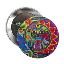 "Mexican Sun and Moon 2.25"" Button"