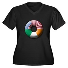 USA - Ireland Women's Plus Size V-Neck Dark T-Shir