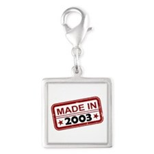 Stamped Made In 2003 Silver Square Charm