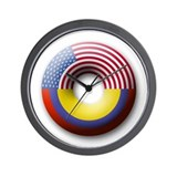 USA - Colombia Wall Clock