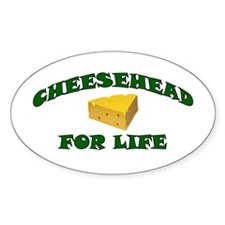 Cheesehead For Life Oval Decal