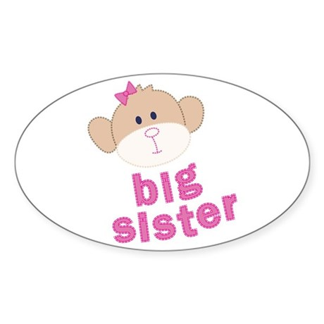 big sister monkey Oval Sticker