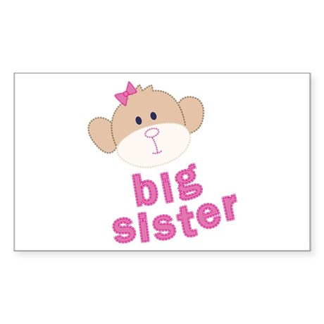 big sister monkey Rectangle Sticker