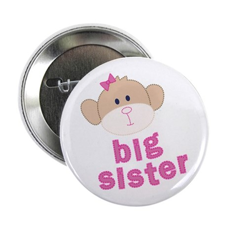 big sister monkey Button