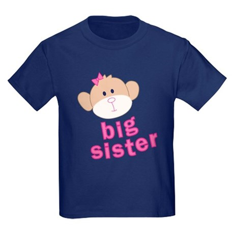 big sister monkey Kids Dark T-Shirt