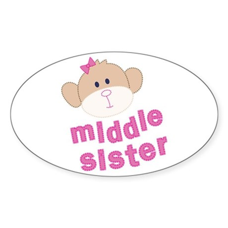 middle sister monkey Oval Sticker
