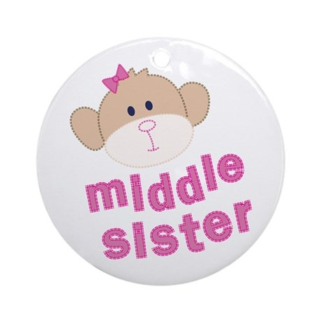 middle sister monkey Ornament (Round)