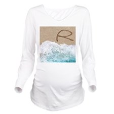 LETTERS IN SAND R Long Sleeve Maternity T-Shirt