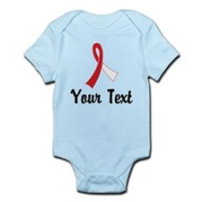 Personalized Red and White Ribbon Infant Bodysuit