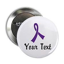 "Personalized Purple Ribbon 2.25"" Button (10 pack)"