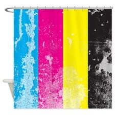 Grunge Cmyk Shower Curtain