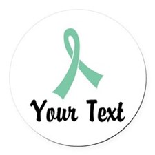Personalized Light Green Ribbon A Round Car Magnet