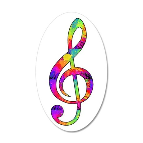 Treble Clef - paint splatter 20x12 Oval Wall Decal