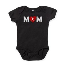 Football Wide Receiver Heart Mom Baby Bodysuit