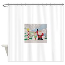 Santa and an elf at the North Pole Shower Curtain