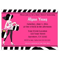 Pink Zebra Mod Baby Shower Invite Invitations
