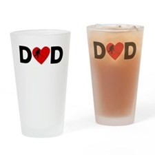 Hockey Heart Dad Drinking Glass
