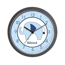 Navy Blue Mod Elephant Add A Name Wall Clock