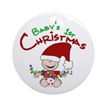 Elf with Lights 1st Christmas Ornament (Round)