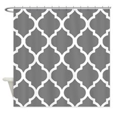 gray quatrefoil pattern Shower Curtain