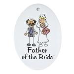Cartoon Bride's Father Oval Ornament