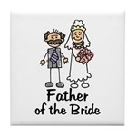Cartoon Bride's Father Tile Coaster