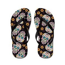 Day of The Dead Sugar Skull, BLACK Flip Flops