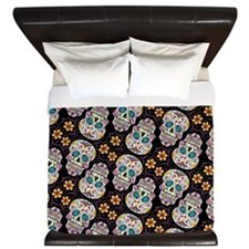 Day of The Dead Sugar Skull, BLACK King Duvet