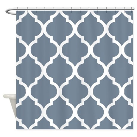 Light Slate Gray Quatrefoil Pattern Shower Curtain By Showercurtainsworld