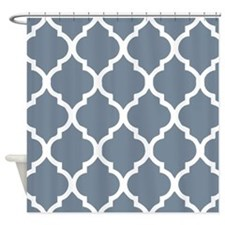 light slate gray quatrefoil pattern Shower Curtain