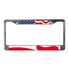 American Flag Waving License Plate Frame