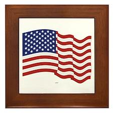 American Flag Waving Framed Tile