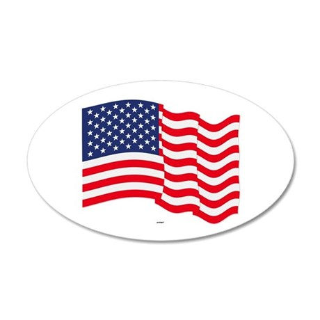 American Flag Waving 20x12 Oval Wall Decal